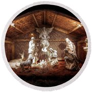 Glory To The Newborn King Round Beach Towel by Shelley Neff