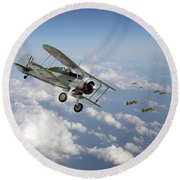 Round Beach Towel featuring the digital art  Gloster Gladiator - Malta Defiant by Pat Speirs