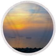 Gloucester Harbor Foggy Sunset Round Beach Towel