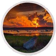 Gloucester Harbor Sunset Round Beach Towel