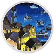 Glouchester Harbor Round Beach Towel