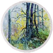 Round Beach Towel featuring the painting Glow From The Tamarack by Joanne Smoley