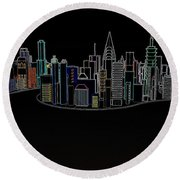 Glowing City Round Beach Towel