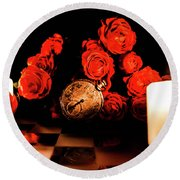 Glowing Clock With Flowers Round Beach Towel