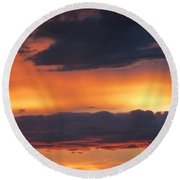 Glowing Clouds Round Beach Towel