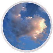 Glowing Heart Cloud Round Beach Towel by Michael Rock