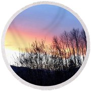 Round Beach Towel featuring the photograph Glowing Kalamalka Lake by Will Borden