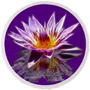 Glowing Lilly Flower Round Beach Towel by Shane Bechler
