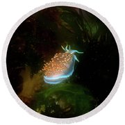 Round Beach Towel featuring the photograph Glowing Nudibranch by Adria Trail