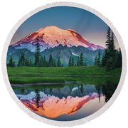 Glowing Peak - August Round Beach Towel