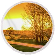 Glowing Sunset Round Beach Towel