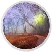Round Beach Towel featuring the photograph Glowing Through The Trees by Debra and Dave Vanderlaan