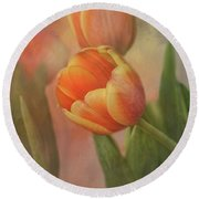 Glowing Tulip Round Beach Towel by Joan Bertucci