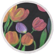 Glowing Tulips Round Beach Towel by Meryl Goudey