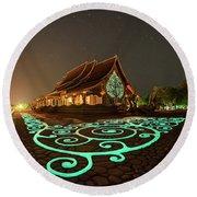 Glowing Wat Sirintorn Wararam Temple, Ubon Round Beach Towel
