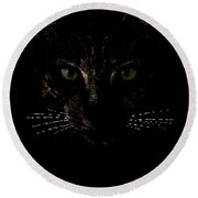 Glowing Whiskers Round Beach Towel