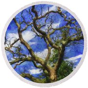 Starry Afternoon Round Beach Towel