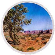 Gnarled Utah Juniper At Monument Vally Round Beach Towel