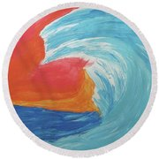 Round Beach Towel featuring the painting Gnarly Wave  by Don Koester