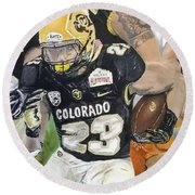 Round Beach Towel featuring the painting Go Buffs by Kevin Daly