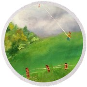 Round Beach Towel featuring the painting Go Fly A Kite by Denise Tomasura