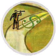 Round Beach Towel featuring the painting Goal by Leon Zernitsky