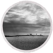 Goat Island Light, Cape Porpoise, Maine Round Beach Towel