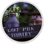 Goat Milk Delivery Round Beach Towel