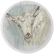 Goat Portrait-farm Animals Round Beach Towel