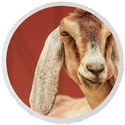 Goat With An Attitude Round Beach Towel