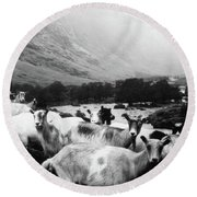 Round Beach Towel featuring the mixed media Goats In Norway- By Linda Woods by Linda Woods