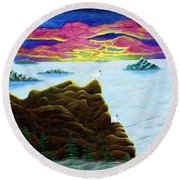 Goats On Dragons Round Beach Towel