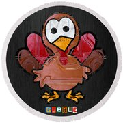 Gobble The Turkey Recycled Thanksgiving License Plate Art Round Beach Towel
