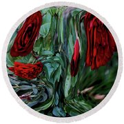 Round Beach Towel featuring the digital art Goblet Of Roses by Aliceann Carlton