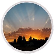 God Beams Round Beach Towel