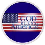 Round Beach Towel featuring the mixed media God Bless America by Shevon Johnson