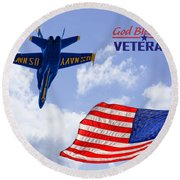 God Bless Our Veterans Round Beach Towel