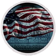 God Country Notre Dame American Flag Round Beach Towel by John Stephens