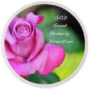 Round Beach Towel featuring the photograph God Equals Rose by Debby Pueschel