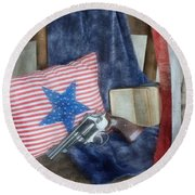 Round Beach Towel featuring the photograph God, Guns And Old Glory by Benanne Stiens