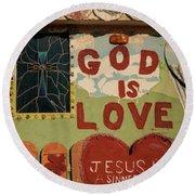 God Is Love Round Beach Towel