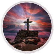 Round Beach Towel featuring the photograph God Is My Rock Special Edition Fine Art by Justin Kelefas