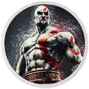 God Of War - Kratos Round Beach Towel by Taylan Apukovska