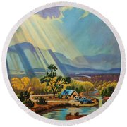 God Rays On A Blue Roof Round Beach Towel
