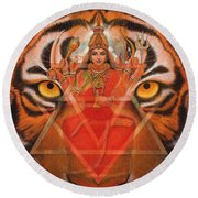 Goddess Durga Round Beach Towel