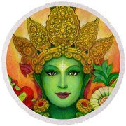Goddess Green Tara's Face Round Beach Towel
