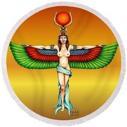 Goddess Isis Round Beach Towel