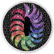 Round Beach Towel featuring the mixed media Goddess by Kym Nicolas