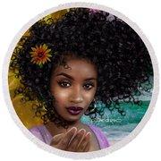 Goddess Oshun Round Beach Towel