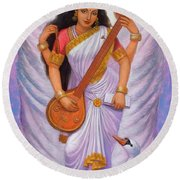 Goddess Saraswati Round Beach Towel